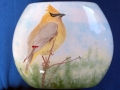 Cedar Waxwing on Pillow Vase